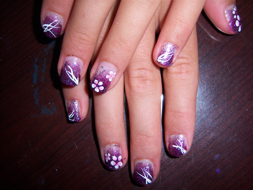 Pretty Purple Flowers Nail Art Nail Art Gallery