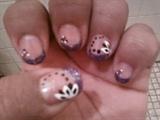 Purple Glitter Tip w/ Dots & Side Flower