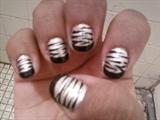 Black French/ Silver Base/ Zebra Lines