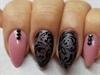Pink @ black nails