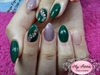 Green, pink and glitter nails