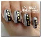 Gold Star Studs Nail Art