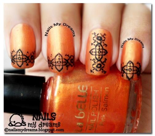 Orange Tattooed Nails