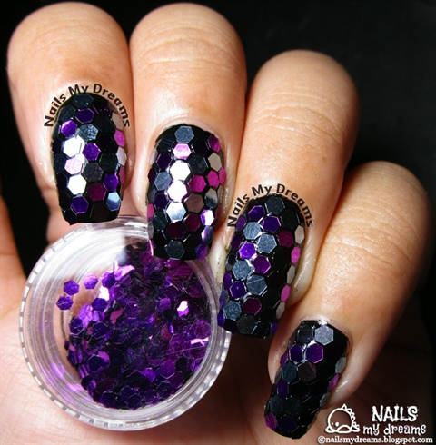 Silver Purple Glitter Placement Nails