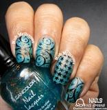 Blue Stars Stamping Nail Art