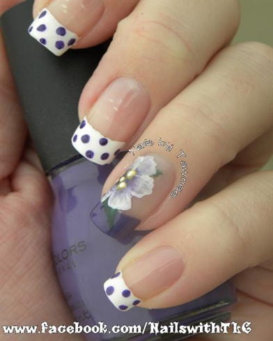 Purple flower with polka dots