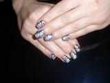 glitter black & silver zebra nails