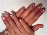 pastels green pink, with circles