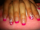 hot pink french + CND acrylic silver shi