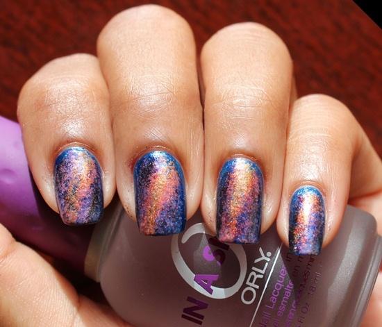 Golden Blue Galaxy Nails