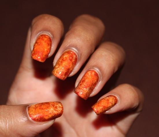 Orange Watercoloured nails