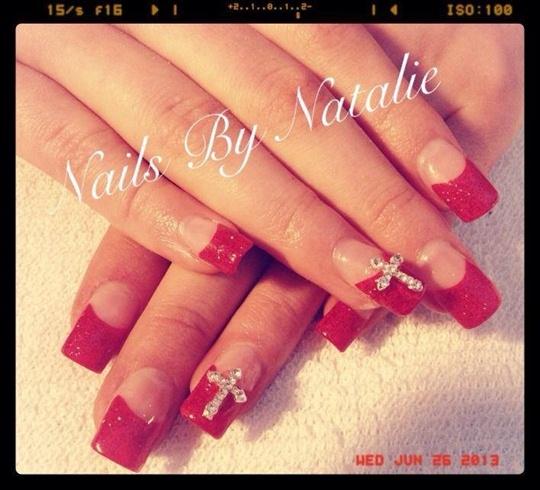 Red Velvet Nails With Diamond Crosses