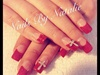 Red velvet nails with diamond crosses