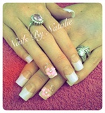 French tips with 3D flower & gems