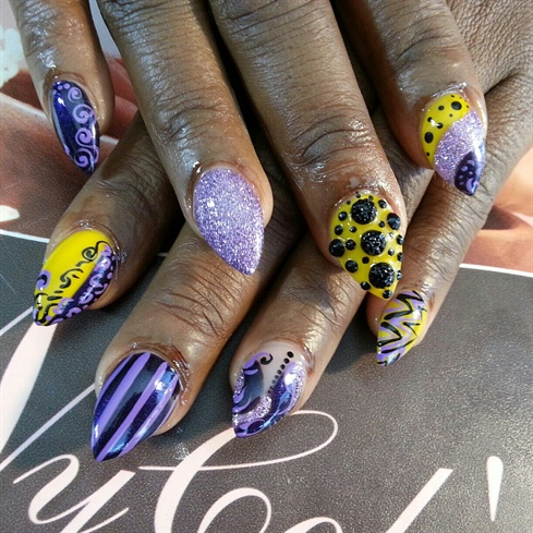 Purple Yellow Black Pointy Nails - Nail Art Gallery