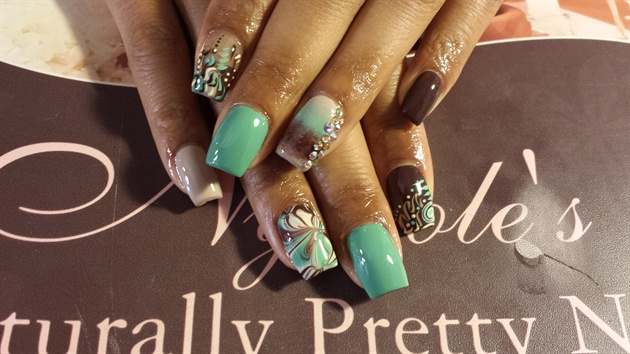 Turquoise & Brown w/ ombre & water marbl