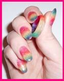 rainbow nails + ring
