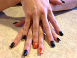 Halloween Black Orange And Glitter Nails