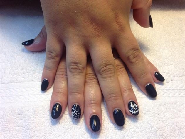 Black,Halloween,spiderweb,skeleton Nails