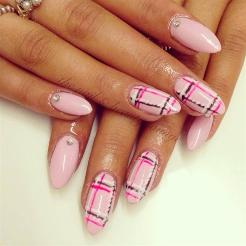 Pink Tartan nails.