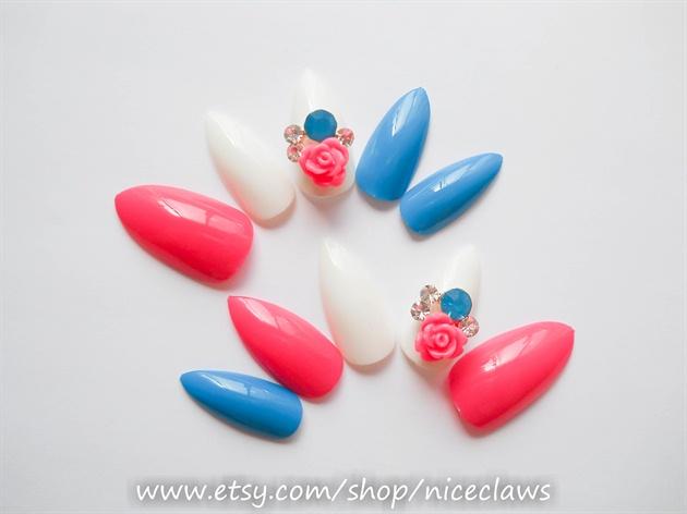 3D Stiletto Nails with Flower Rhinestone