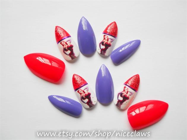 Jessica Rabbit Pin up Stiletto Nails