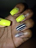 bright yellow, stripes, and glitter