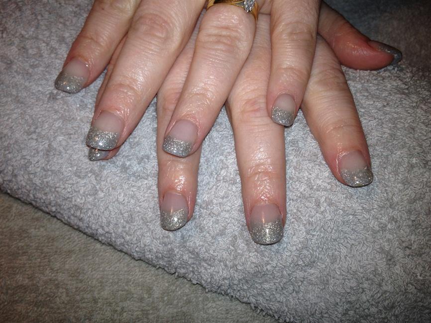 silver glitter tip acrylic nails - Nail Art Gallery