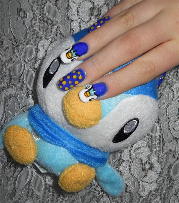 Piplup nail art - Nail Art Gallery Pokemon Nail Art Photos