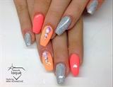 peach orange silver