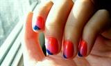 orange, pink, dark blue