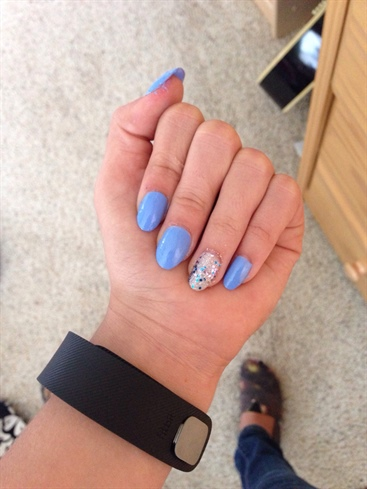 Blue Glitter Accent Nails