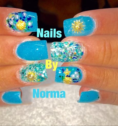 Blue Beach Nails