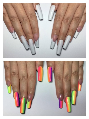 I applied a thin coat of white gel polish and cured for 30 seconds.\n\nI chose bright colours as the background on the front of the nails to represent happiness.  I painted all the different gel colours vertically, and using a small gel brush, I blended them together and then cured for 30 seconds. \n