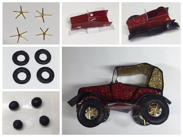 For the vintage car, i used red and black gel, red and gold glitter, wire and some tiny clear plastic sheet . I began by mixing black gel polish with Akzentz 3D powder to a mouldable consistency, then I created four balls and shaped it to make the tyres.  I used a small C curve stick to carve out the center and cured it for 3-4 minutes. I cut out a small piece of wire and adhered it together using Akzentz option gel for 30 seconds.  For the body of the vintage car, I cut out the shape, glued it together, and painted the body car using red and black gel polish for the first coat. For the second coat I painted red glitter and for the roof, gold glitter. I then applied two layers of top coat and then added the finer details to finish the vintage car off.  I should add, that I did cure each layer for 30seconds.