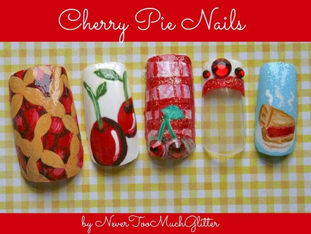 Cherry Pie Nails by NeverTooMuchGlitter