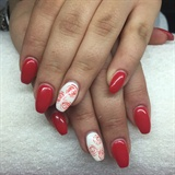 Nail Red White Flower