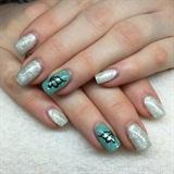 Nail Blue Water Grey Glitter
