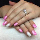 Nail Pink Grey Glitter