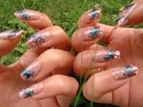 pink and blu-green nail art