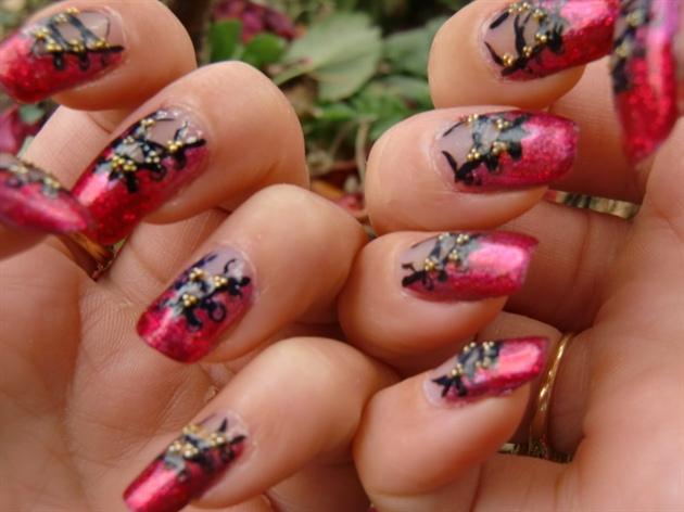 red corset nail art