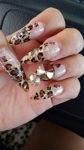 Long Stilleto Leopard Nails
