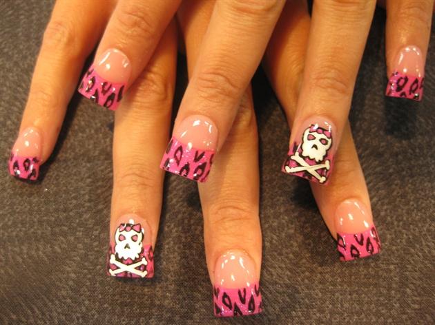 pink leopard and skulls