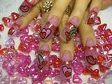 hearts kisses and cherries