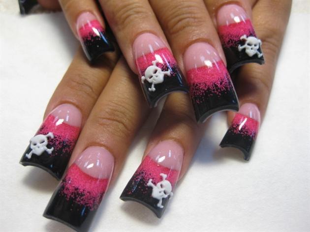 Hot Pink And Black Skulls Nail Art Gallery