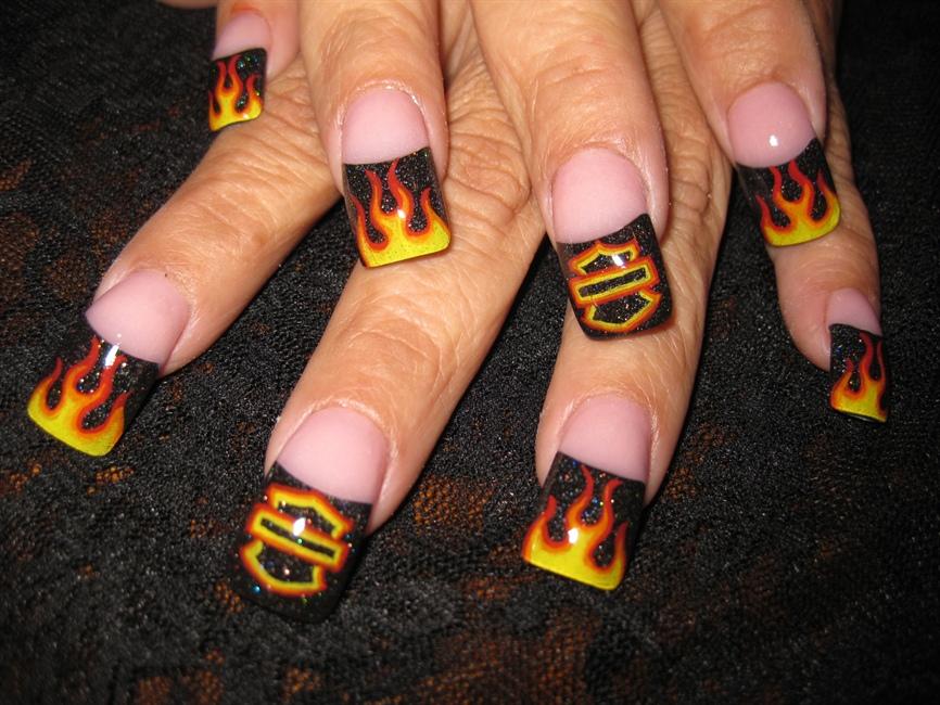- Harley Flame Nails - Nail Art Gallery