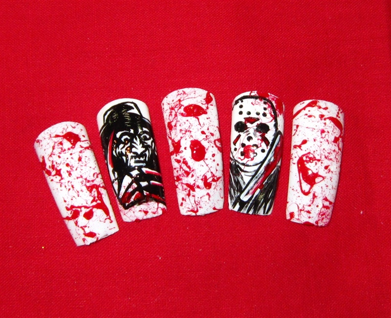 Magnificent Jason Halloween Nails Pictures - Nail Art Ideas ...