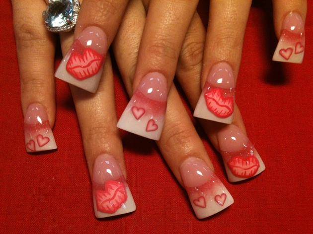 Soft Pink Lips Nail Art Gallery