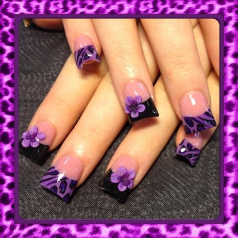 purple leopard and 3d flowers