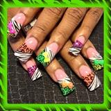 neon leopard and zebra